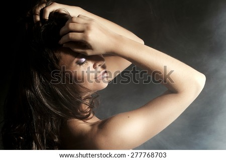 Closeup portrait of gorgeous woman with closed eyes. Emotional photo.