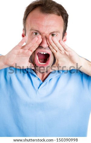 Closeup portrait of guy wearing blue shirt and yelling angry isolated on white background