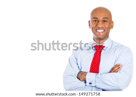 Closeup portrait of handsome businessman, isolated on white background with copy space - stock photo