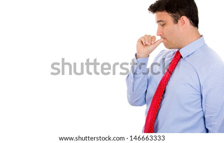 Closeup portrait of handsome businessman with thumb in mouth as sign of depression from being screwed over, isolated on white background with copy space