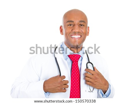 Closeup portrait of handsome health care professional or doctor or nurse holding stethoscope around neck, isolated on white background with copy space - stock photo