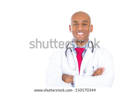Closeup portrait of handsome health care professional or doctor or nurse with stethoscope, arms folded, isolated on white background with copy space - stock photo