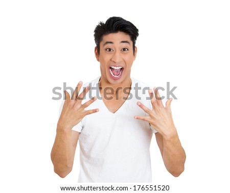 Closeup portrait of handsome, surprised, shocked, stunned young man, worker, student, employee, in full disbelief, isolated on white background. Human face expressions, emotions, reaction, perception - stock photo