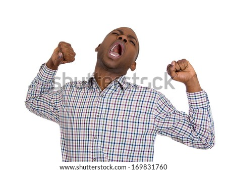 Closeup portrait of handsome tired fatigued man stretching arms, back, shoulders , yawning, isolated on white background. Negative emotion facial expression feeling - stock photo