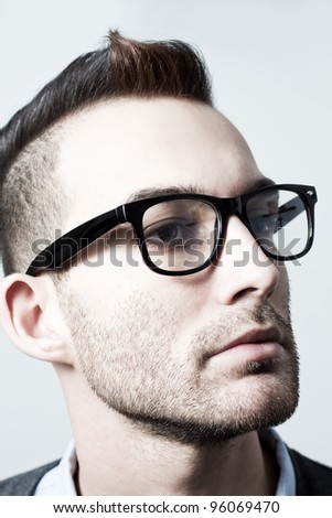 closeup portrait of handsome young adult man - colorized photo - stock photo