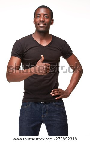Closeup portrait of handsome young black african smiling man, giving a raised finger, isolated on white background. Positive human emotions  - stock photo