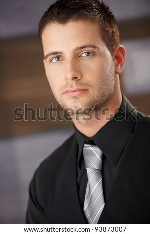 Closeup portrait of handsome young businessman.? - stock photo