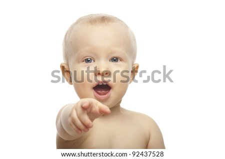 Closeup portrait of happy baby isolated white - stock photo