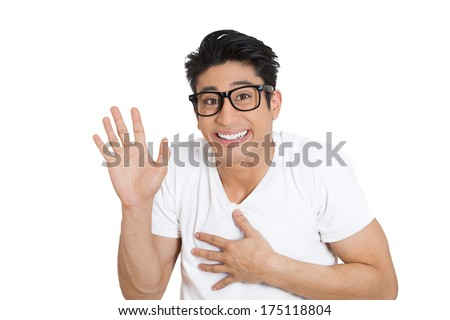Closeup portrait of happy bashful socially awkward young man with big black glasses waving with hands, isolated on white background. Positive emotion facial expression feelings, situation, reaction - stock photo