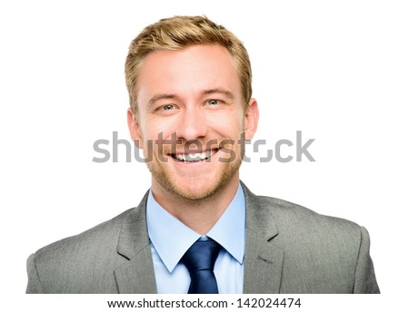 Closeup portrait of happy businessman isolated on white - stock photo