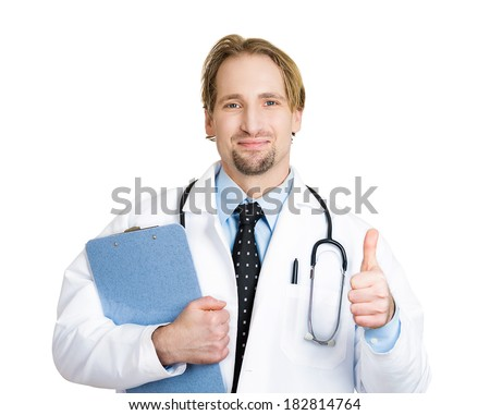 Closeup portrait of happy, confident, casual healthcare professional, dentist, scientist, researcher, doctor, nurse with clipboard in hand, thumbs up sign, isolated on white background. Patient care - stock photo