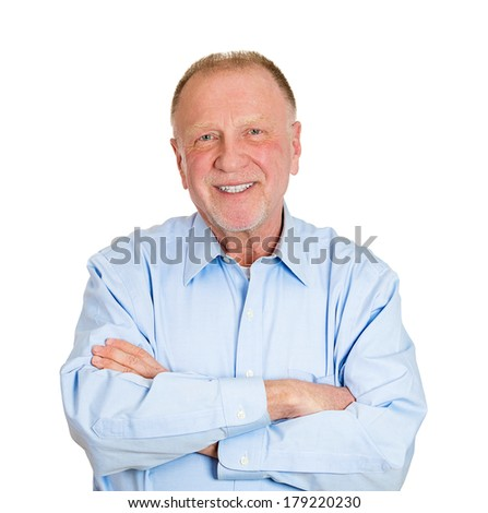 Closeup portrait of happy, confident, cheerful, smiling senior mature man with arms crossed, isolated on white background. Positive human emotions, facial expressions, feelings, attitude - stock photo