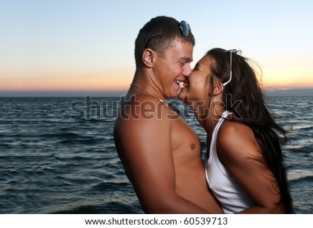 Closeup portrait of happy couple enjoying vacations - stock photo