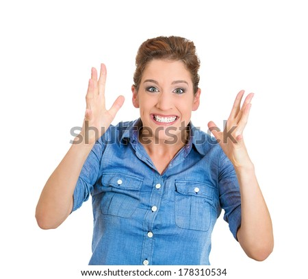 Closeup portrait of happy excited girl. Young beautiful woman smiling surprised hands in air, amazed isolated on white background. Funky young joyful female model. Positive human emotions, expression - stock photo