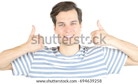Closeup portrait of Happy Man thumbs up with both hands