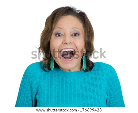 Closeup portrait of happy senior mature woman looking shocked surprised in full disbelief with wide opened mouth, eyes, isolated white background. Positive human emotions, facial expressions feeling