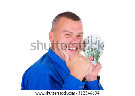 Closeup portrait of happy, successful, lucky business man in shirt and tie holding money euros banknotes in hands and looking to camera. isolated white background. Positive emotion.  - stock photo