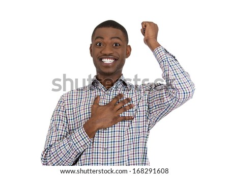 Closeup portrait of happy young man looking shocked surprised in full disbelief hand on chest, isolated on white background. Positive human emotion facial expression feeling, attitude - stock photo