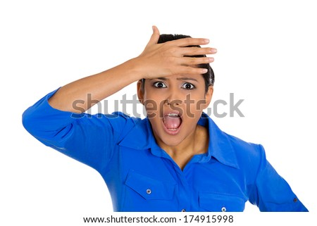 Closeup portrait of happy young pretty woman looking shocked surprised in full disbelief hands on head, open mouth, isolated on white background. Positive emotion facial expression feeling, attitude - stock photo