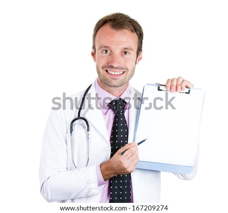Closeup portrait of health care professional, friendly doctor holding a blank clipboard, pointing with a pen, offering to sign a consent, isolated on white background. Informed patient decision, care - stock photo
