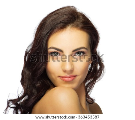 Closeup portrait of healthy girl isolated