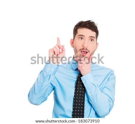 Closeup portrait of intelligent daydreaming young man who just came up with an idea aha, isolated on white background. Positive emotion facial expression feeling, attitude, perception, body language - stock photo