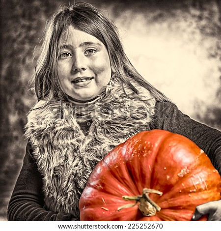 Closeup portrait of little girl smiling with a big orange ripe pumpkin. Halloween theme. Studio shoot after freshly harvest in autumn. Mixed sepia and color image - stock photo