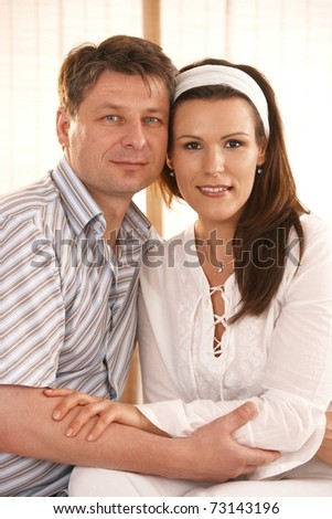 Closeup portrait of love couple holding each other? - stock photo