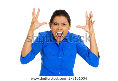 Closeup portrait of mad bitter displeased pissed angry cranky grumpy young woman open mouth, hands in air in nervous breakdown, isolated on white background. Negative emotion facial expression feeling - stock photo