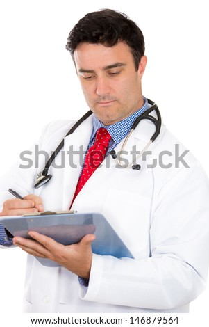 Closeup portrait of male doctor or healthcare professional or nurse wearing red tie and stethoscope writing on clipboard, isolated on white background with copy space