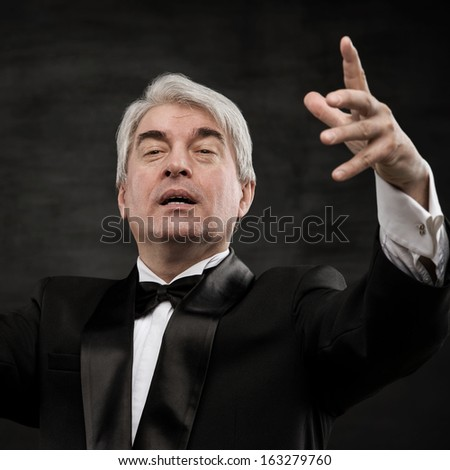 Closeup portrait of male orchestra conductor directing with his hands in concert. Business leading concept  - stock photo