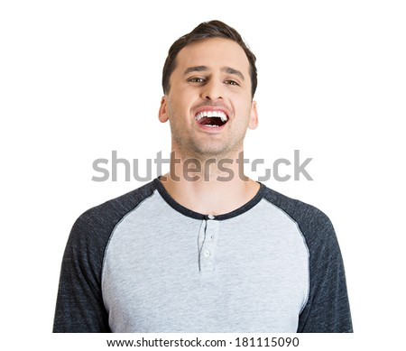 Closeup portrait of mirthful, laughing successful young business man, student, worker, employee, isolated on white background. Positive human emotions facial expressions, feelings, attitude perception - stock photo