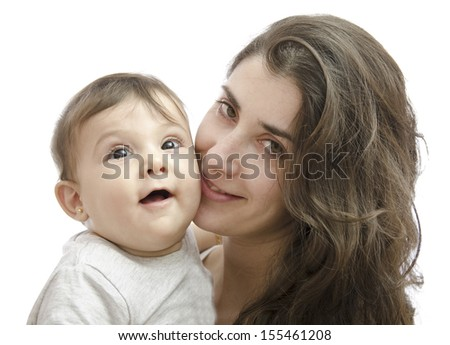 Closeup portrait of mother and baby in white background - stock photo