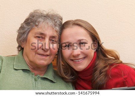 Closeup portrait of mother and her daughter
