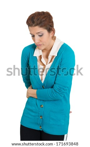 Closeup portrait of nerdy, shy, insecure, embarrassed young girl, nervous student looking down, avoiding eye contact, anxious, isolated on white background. Human emotions, facial expressions, feeling - stock photo