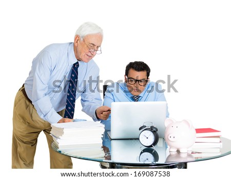 Closeup portrait of old elderly business man boss, checking on his young employee, pushing to work hard on project, who is in disagreement unhappy, isolated on white background. Conflict at work place - stock photo