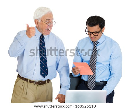 Closeup portrait of old elderly business man ceo boss giving pink slip fired to sad depressed young employee who walks away in shame, isolated on white background. Conflict in the office work place. - stock photo