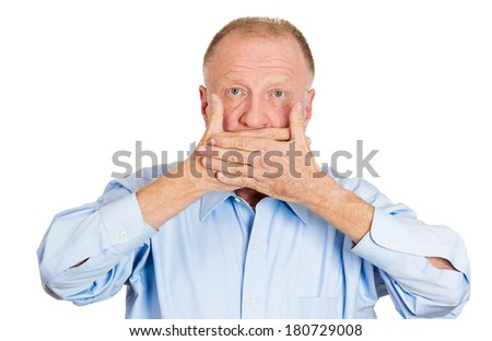 Closeup portrait of old man, senior citizen, worker, employee, covering his mouth. Speak no evil concept, isolated on white background. Human emotions, face expressions, feelings, signs, body language - stock photo