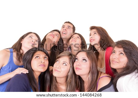 Closeup portrait of people looking upwards - stock photo