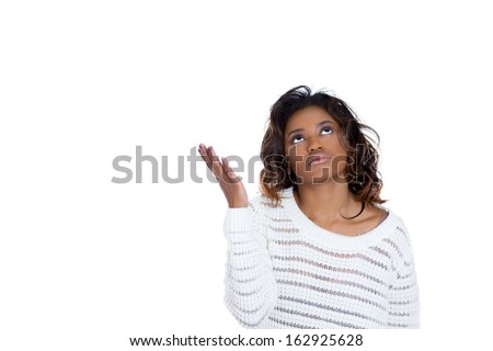 Closeup portrait of pissed off young woman looking upwards, hands asking why me, what do i do now, isolated on white background copy space to left. Negative human emotion facial expression - stock photo