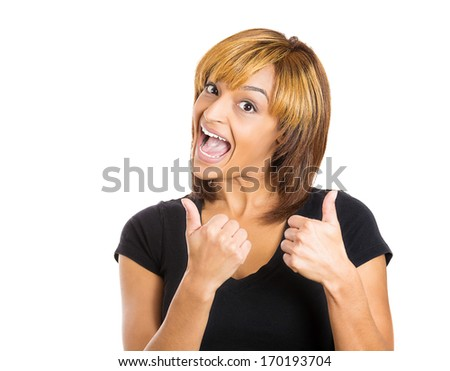 Closeup portrait of pretty friendly pleased young smiling woman giving two thumbs up at camera sign isolated on white background. Positive human emotions facial expression feelings. Symbols - stock photo
