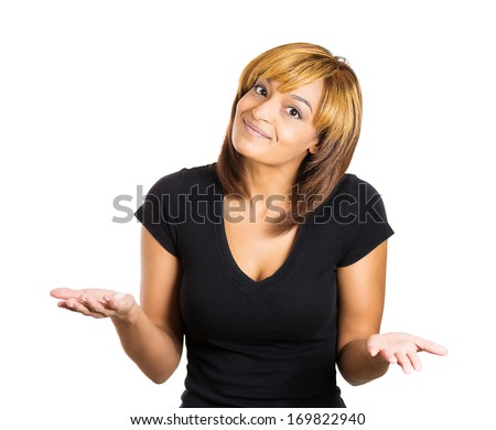 Closeup portrait of pretty smiling young woman with arms out asking what's the problem who cares so what or I don't know. Isolated on white background. Negative human emotions facial expression  - stock photo