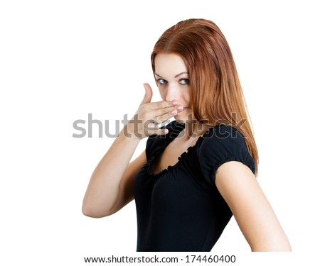 Closeup portrait of pretty young beautiful woman who covers her nose,something stinks, very bad smell, situation, isolated on white background. Human negative emotion facial expression feelings - stock photo