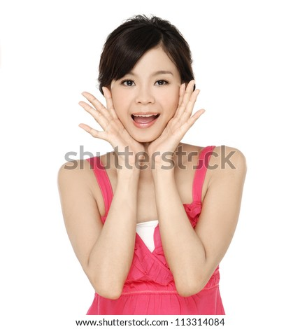 Closeup portrait of pretty young woman yelling with her hands near mouth - stock photo