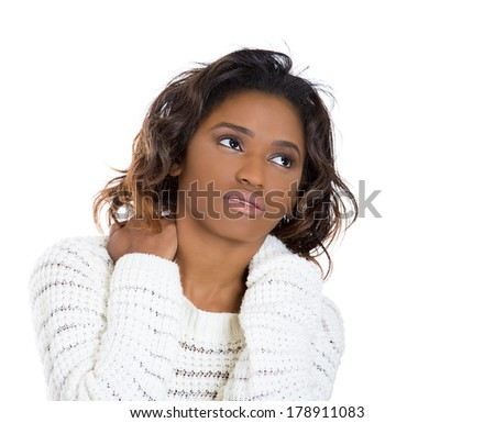 Closeup portrait of really stressed unhappy, young pretty woman with really bad neck pain, after long hours of work, studying, isolated on white background. Negative human emotions, facial expressions