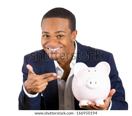Closeup portrait of rich super excited young successful happy man introducing his friend, the piggy bank, isolated on white background. Financial money savings, corporate earnings report - stock photo