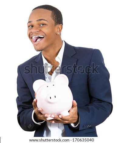 Closeup portrait of rich super excited young successful happy man introducing his friend, the piggy bank, isolated on white background. Financial money savings, corporate earnings report