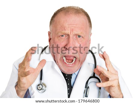 Closeup portrait of rude frustrated upset overwhelmed, angry senior doctor, mad old health care professional, screaming at nurse, patient isolated on white background. Human face expressions, emotions - stock photo