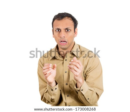 Closeup portrait of scared man, shocked guy, puzzled employee, looking at you with opened mouth trying to predict what is next, in anticipation of unpleasant situation, isolated on white background.