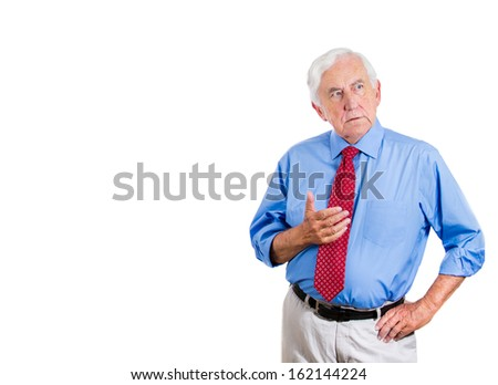 Closeup portrait of senior elderly mature man, corporate executive, boss looking worried , concerned, trying to remember, recall something, but forgetting, isolated on white background with copy space - stock photo